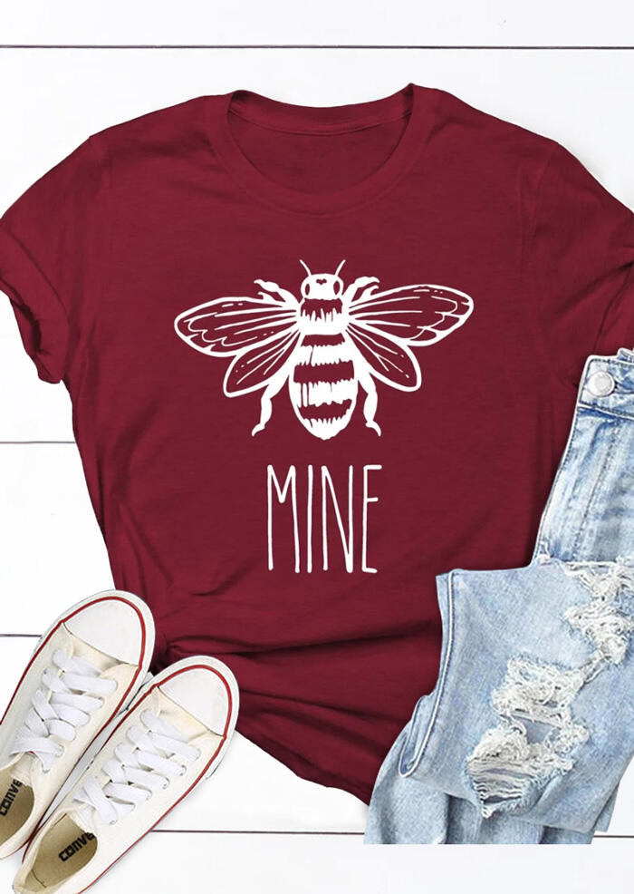 Tees T-shirts Bee Mine O-Neck T-Shirt Tee in Burgundy. Size: M фото