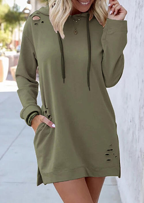 Solid Hollow Out Pocket Drawstring Mini Dress without Necklace – Army Green