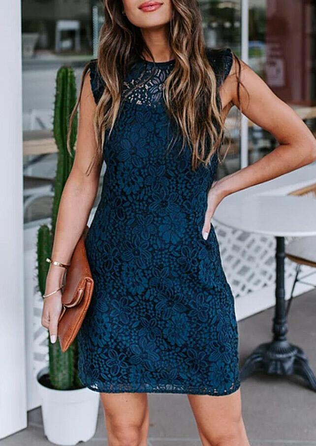 Lace Splicing Sleeveless Hollow Out Mini Dress - Cyan