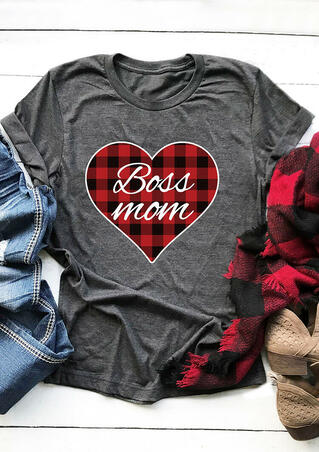 Valentine Plaid Printed Heart Boss Mom T-Shirt Tee - Gray