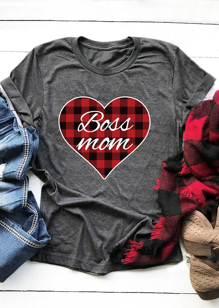 Tees T-shirts Plaid Splicing Boss Mom Heart T-Shirt Tee in Gray. Size: S,M,L,XL фото