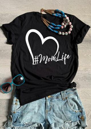 Mom Life Heart T-Shirt Tee - Black