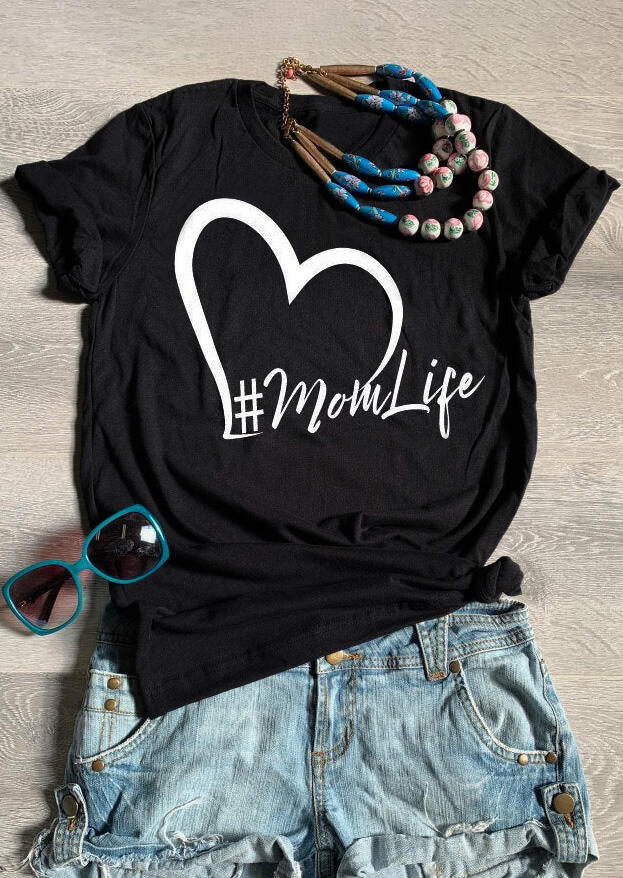 Tees T-shirts Mom Life Heart T-Shirt Tee in Black. Size: S,M фото