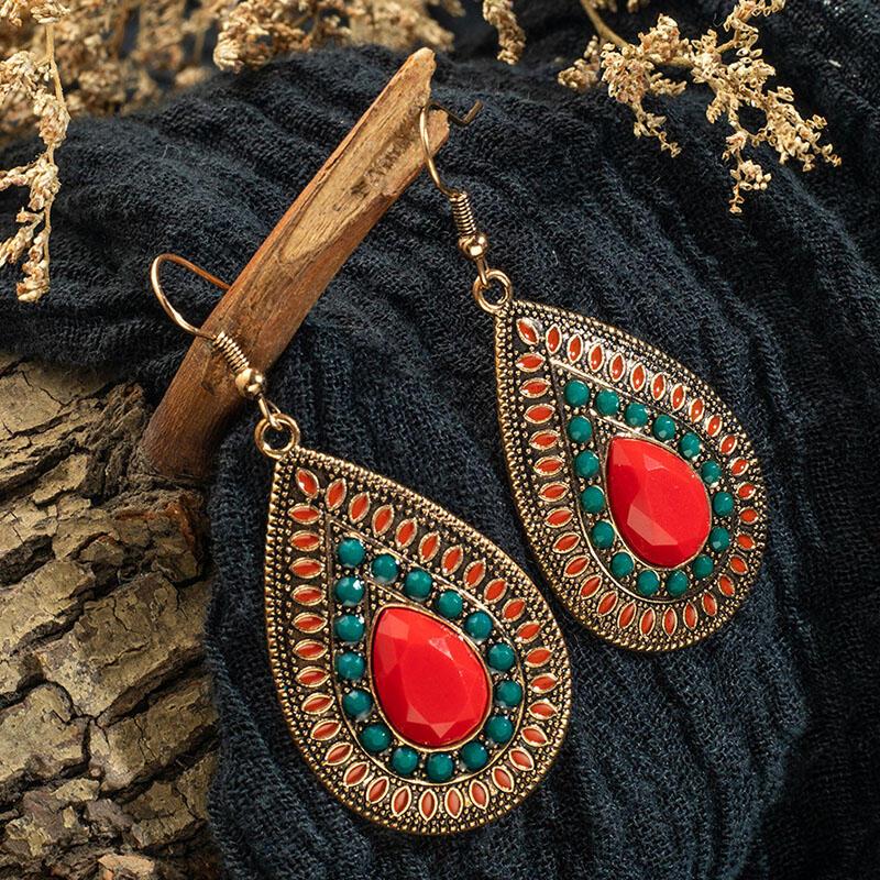 Bohemian Faux Emerald Ruby Water Drop Shaped Earrings