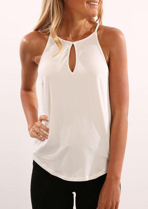 Burgundy Halter Cut Out Camisole Tank Top in Black,White,Burgundy. Size: S,M,L,XL фото