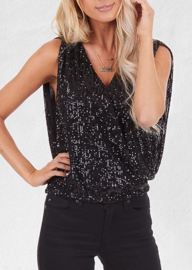 Sequined Open Back Tank without Necklace - Black фото