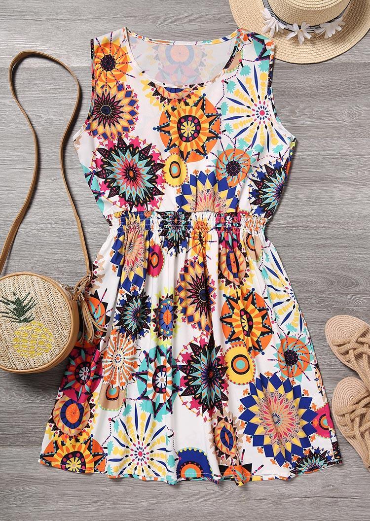 Mandala Printed Ruffled Mini Dress – Multicolor