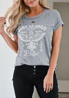 Summer Outfits Born To Roam Thunderbird Cactus Steer Skull T-Shirt Tee