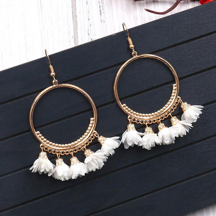 Bohemian Large Ring Flower Alloy Earrings фото