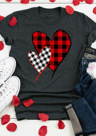 Plaid Splicing Heart O-Neck T-Shirt Tee - Dark Grey