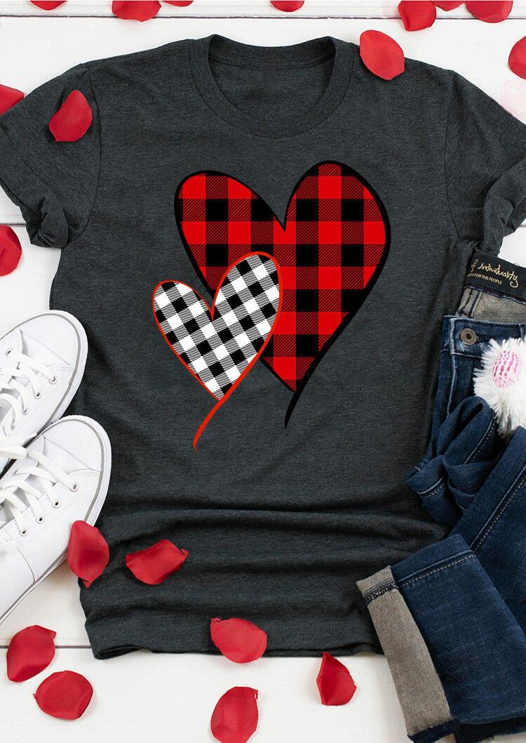 Valentine Plaid Splicing Heart O-Neck T-Shirt Tee - Dark Grey