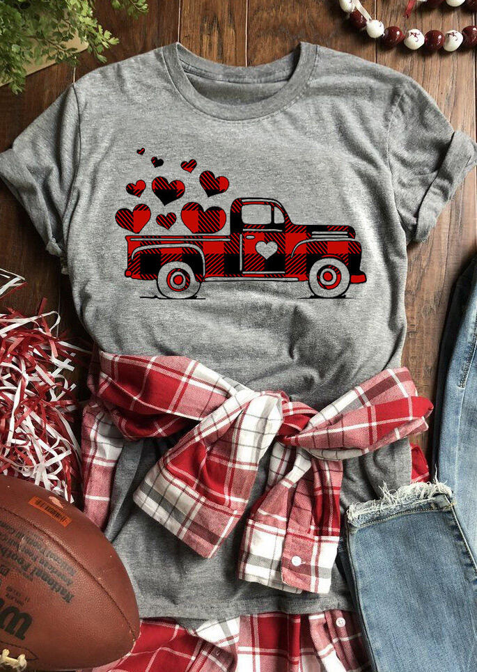 Valentine Plaid Printed Splicing Car Heart T-Shirt Tee - Gray