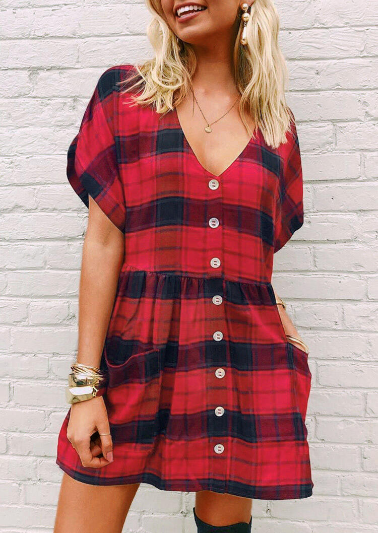 Mini Dresses Plaid Pocket Button Mini Dress without Necklace in Red. Size: S фото