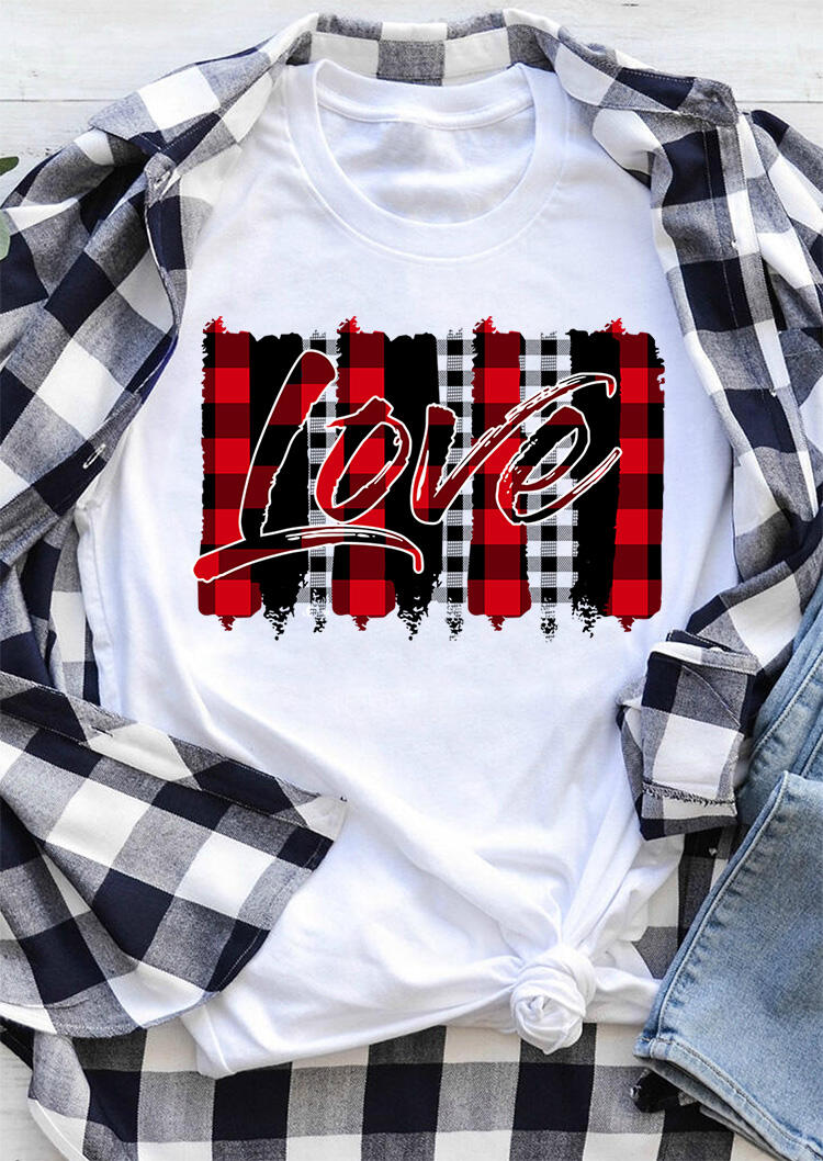 Love Plaid Printed Splicing T-Shirt Tee - White фото