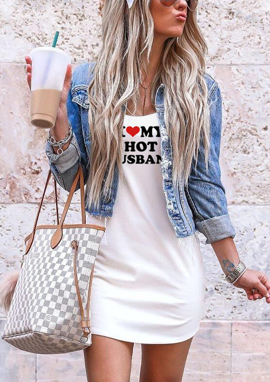 I Love My Hot Husband Mini Dress without Necklace – White