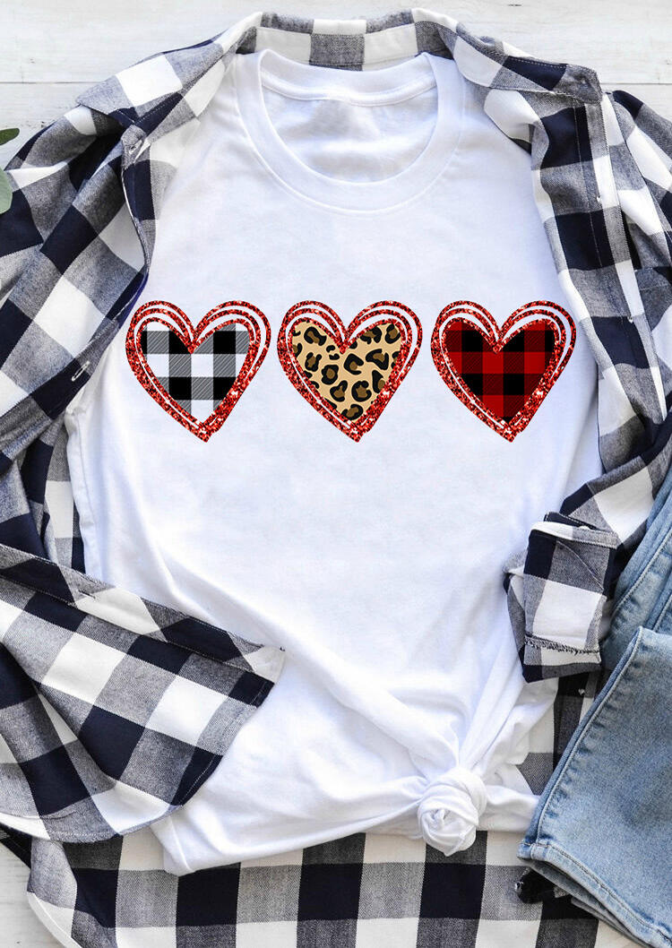 Tees T-shirts Valentine Plaid Leopard Printed Heart T-Shirt Tee - White. Size: S,M,,XL