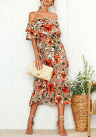 Summer Outfits Floral Off Shoulder Casual Dress - Light Coffee