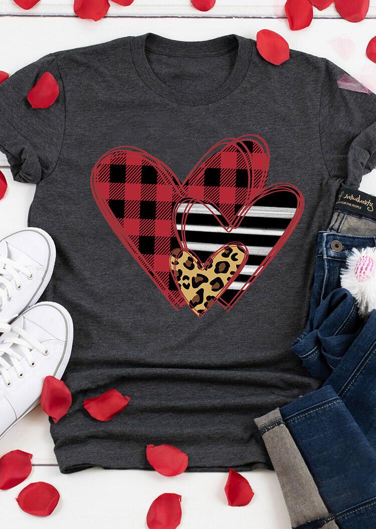 Valentine Striped Plaid Leopard Printed Splicing Heart T-Shirt Tee - Dark Grey