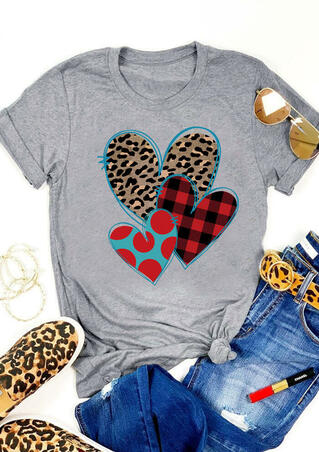 Valentine Plaid Leopard Printed Heart T-Shirt Tee - Gray