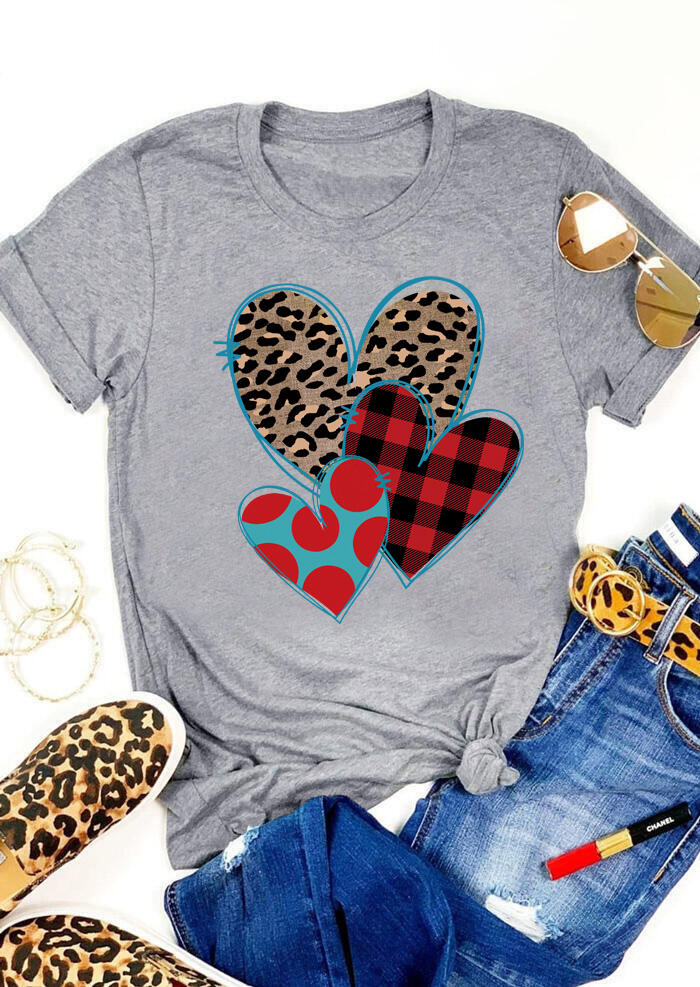 Tees T-shirts Valentine Plaid Leopard Printed Heart T-Shirt Tee - Gray. Size: S,M,,XL