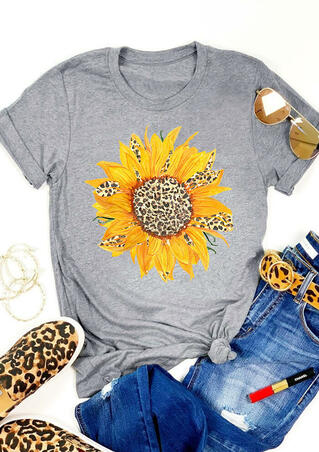 Sunflower Leopard Printed T-Shirt Tee - Gray