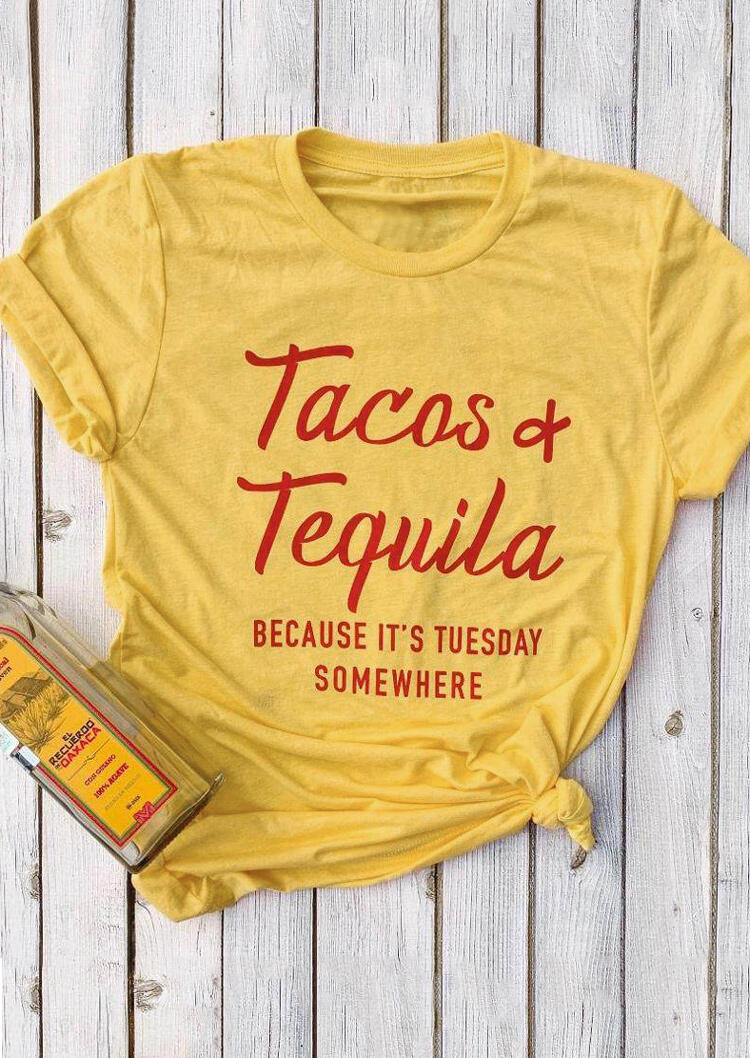 Tacos & Tequila Because It's Tuesday T-Shirt Tee - Yellow thumbnail