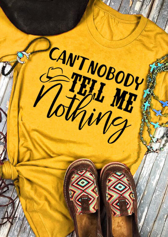 Tees T-shirts Can't Nobody Tell Me Nothing T-Shirt Tee - Yellow. Size: S,XL фото