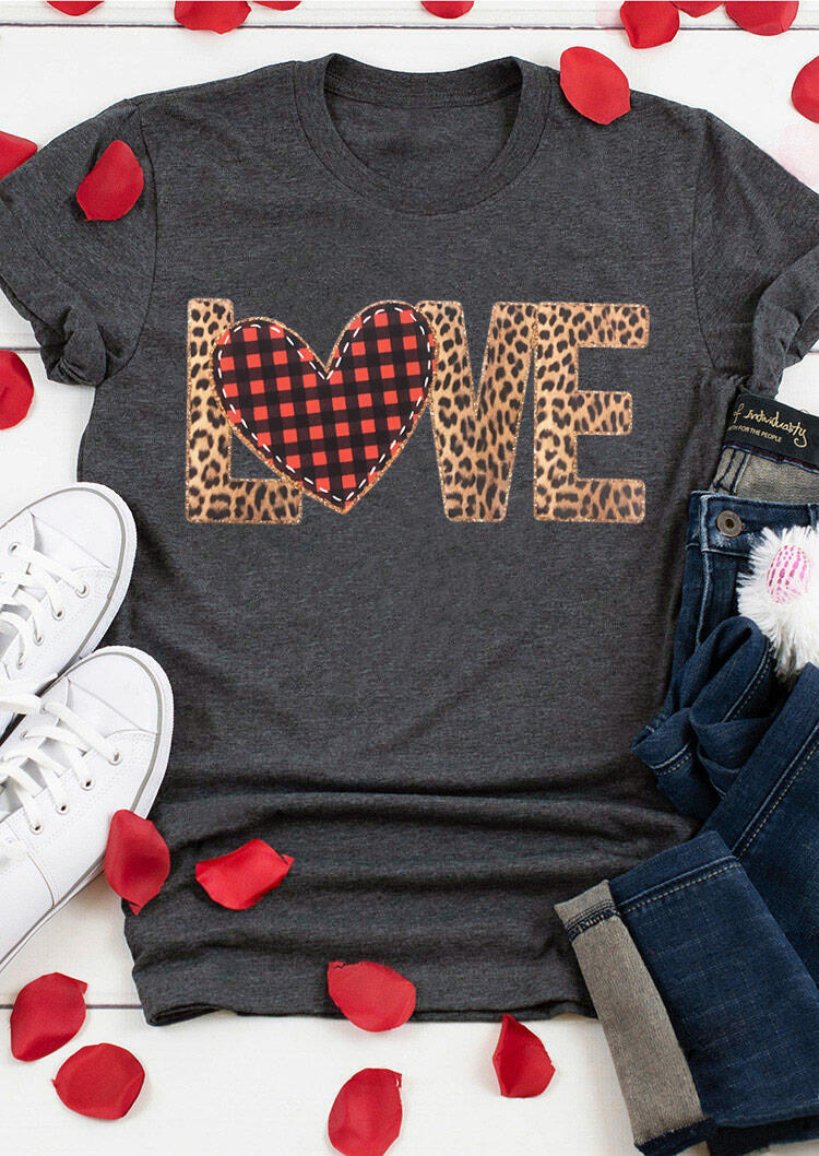Tees T-shirts Valentine Plaid Leopard Printed Love Heart T-Shirt Tee - Gray. Size: S,M,,XL
