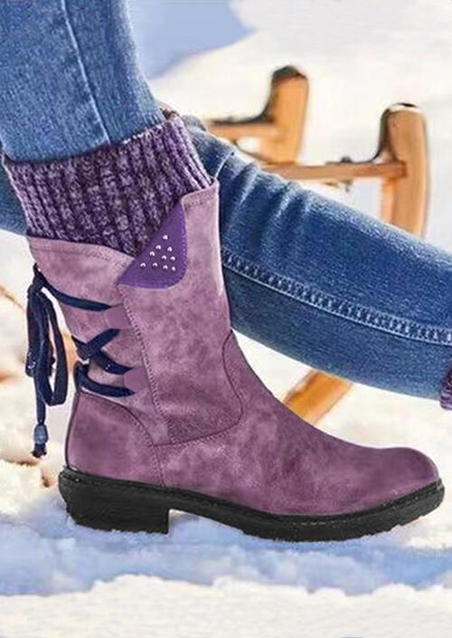Boots Warm Lace Up Zipper Rivet Splicing Knitting Boots in Purple,Khaki. Size: 37,38,39,40