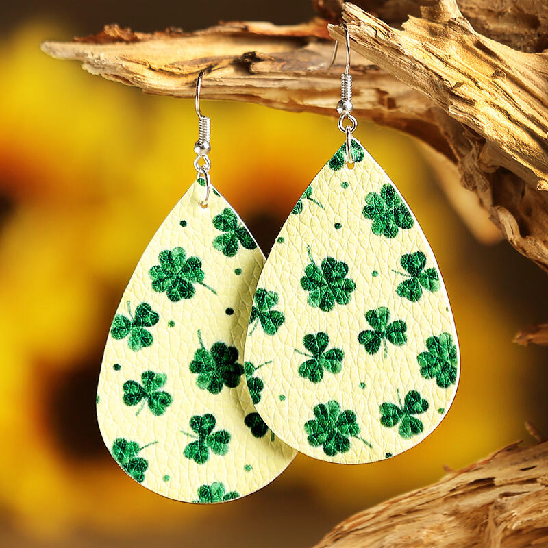 St. Patrick's Day Lucky Shamrock PU Leather Earrings - Light Yellow фото
