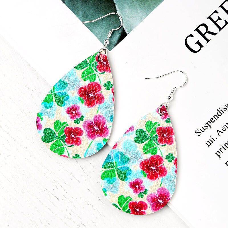 St. Patrick's Day Lucky Shamrock PU Leather Earrings - Multi-Colored фото