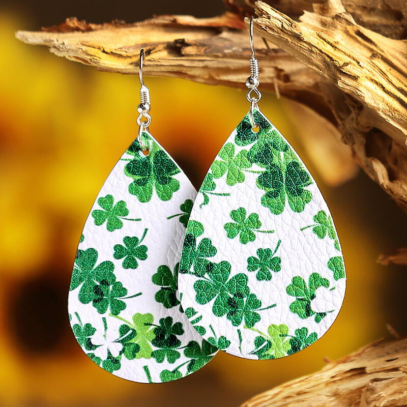 St. Patrick's Day Lucky Shamrock PU Leather Earrings - Green фото