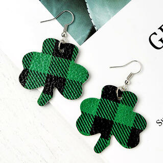 St. Patrick's Day Plaid Printed Lucky Shamrock Earrings