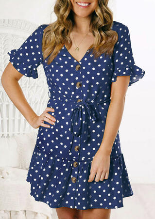 Polka Dot Ruffled Mini Dress without Necklace - Navy Blue