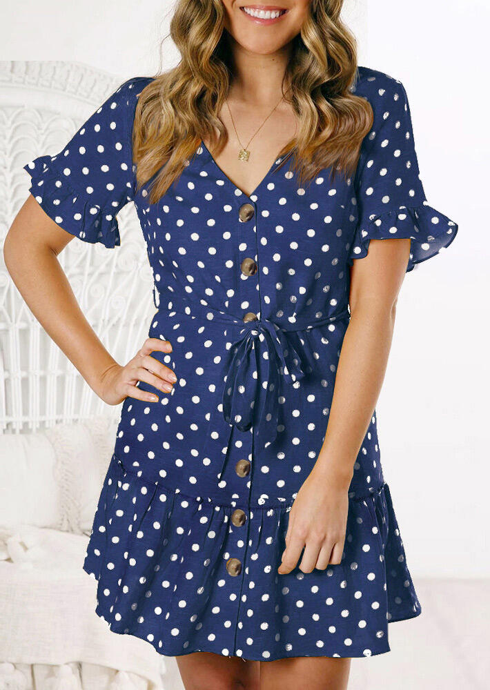 Mini Dresses Polka Dot Ruffled Mini Dress without Necklace in Navy Blue. Size: S,M,L,XL фото