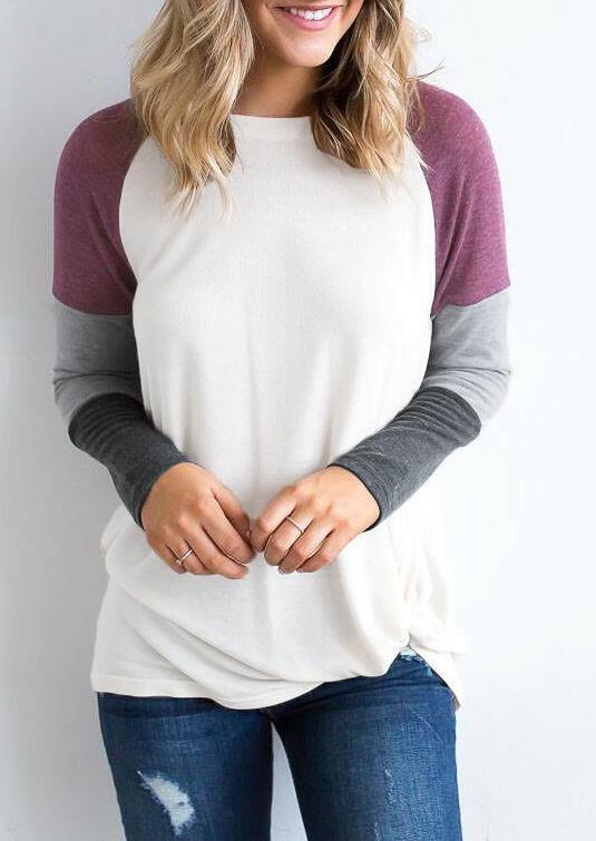 Color Block Long Sleeve Blouse фото
