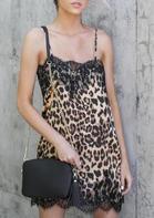 Leopard Printed Lace Splicing Mini Dress
