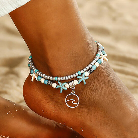 Body Jewelry Bohemian Turquoise Starfish Dual-Layered Anklet in #1. Size: One Size фото