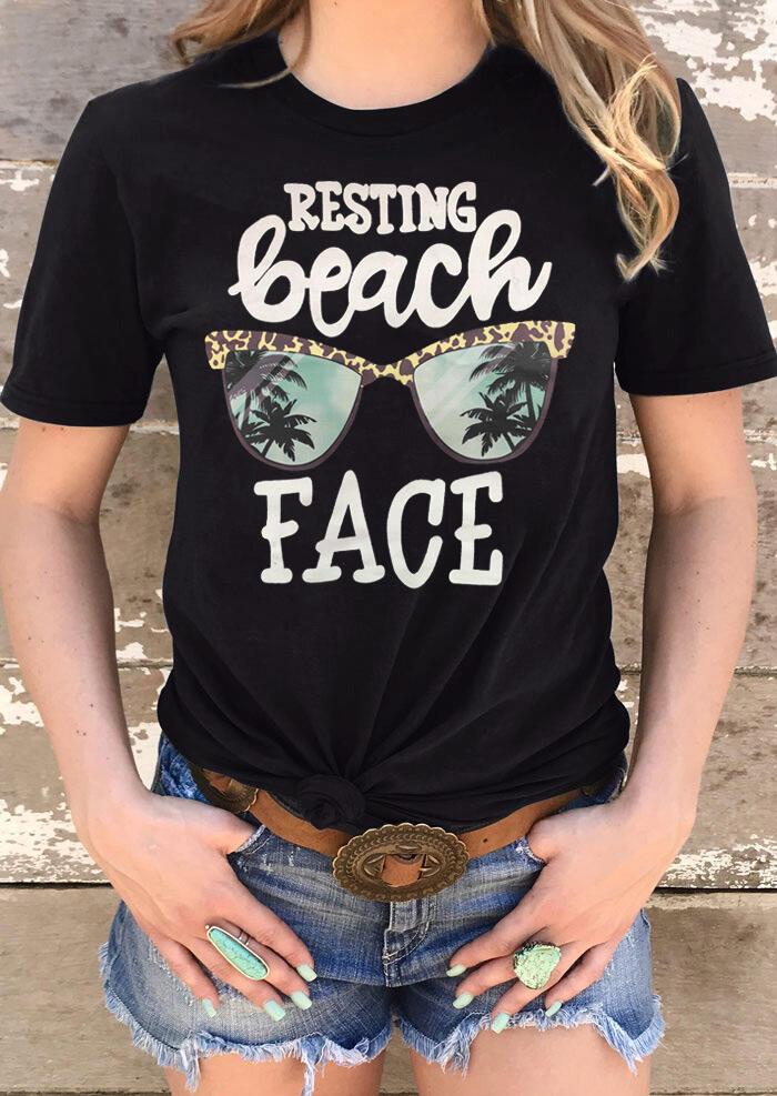 Leopard Printed Resting Beach Face T-Shirt Tee - Black фото