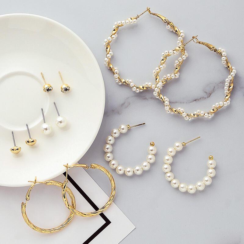 6 Pairs/Set Fashion Circle Acrylic Pearl Rhinestone Earrings фото