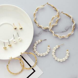 6 Pairs/Set Fashion Circle Acrylic Pearl Rhinestone Earrings