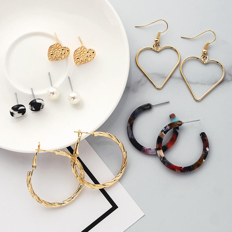 6 Pairs/Set Love Heart Circle Pearl Stud Earrings