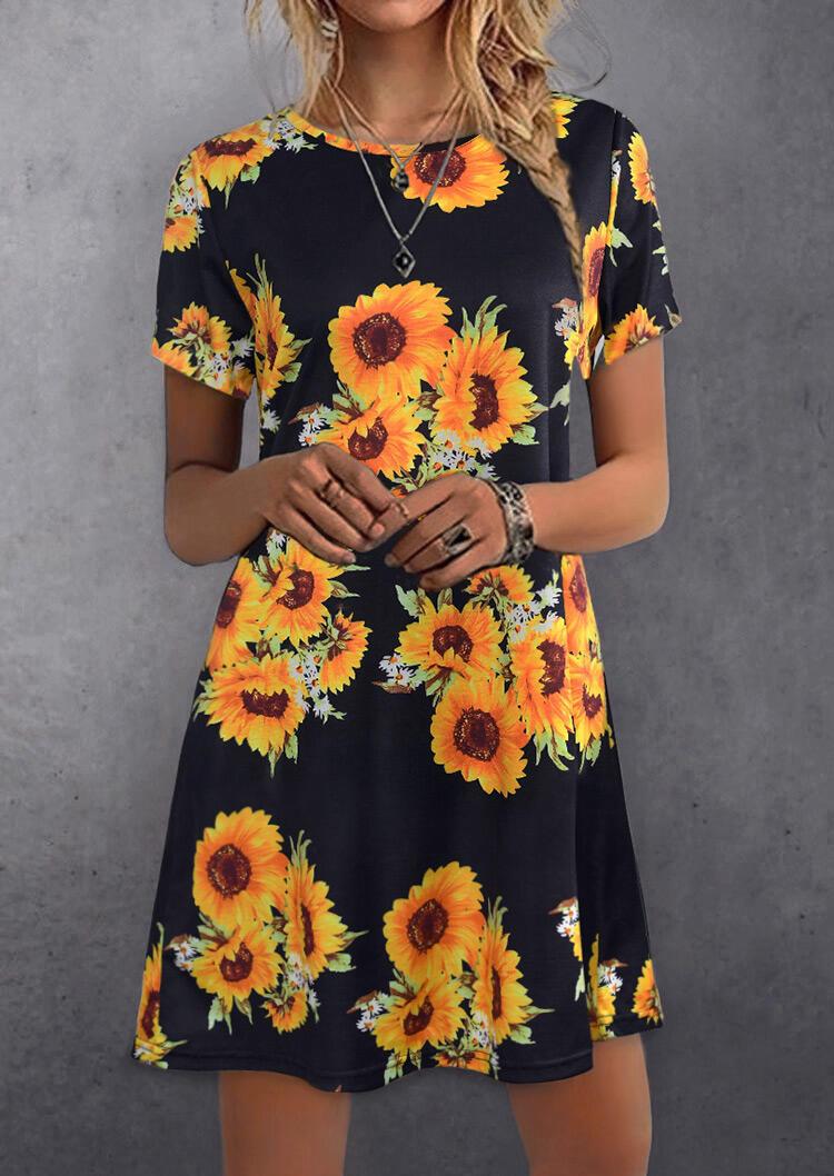Sunflower O-Neck Mini Dress – Black