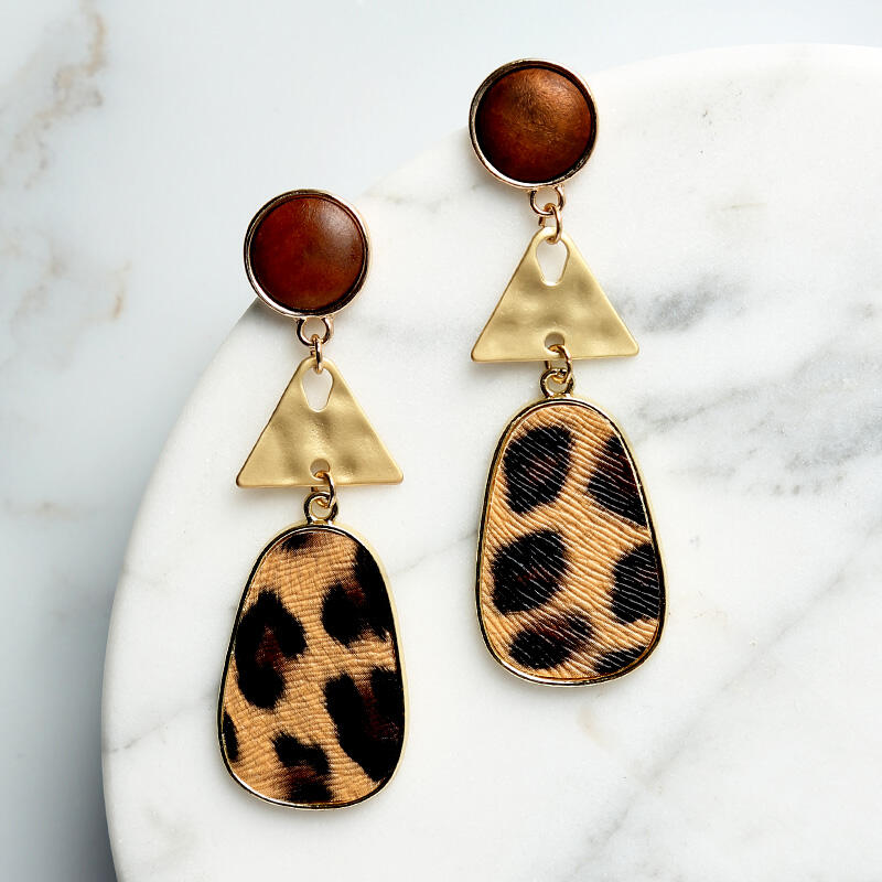 Women's Leopard Printed Long Oval Earrings фото