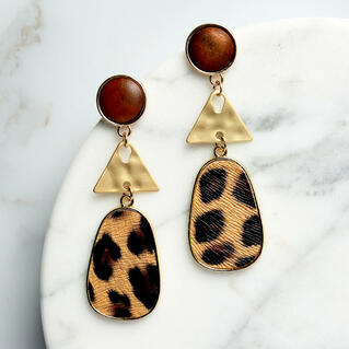 Women's Leopard Printed Long Oval Earrings