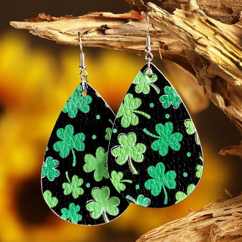 St. Patrick's Day Lucky Shamrock PU Leather Earrings - Dark Green фото