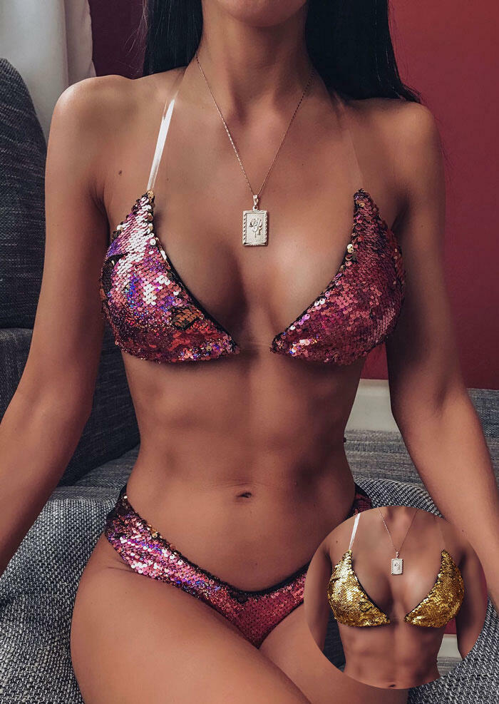 Color Changing Reversible Sequined Bikini Set without Necklace (Purple - Gold) фото