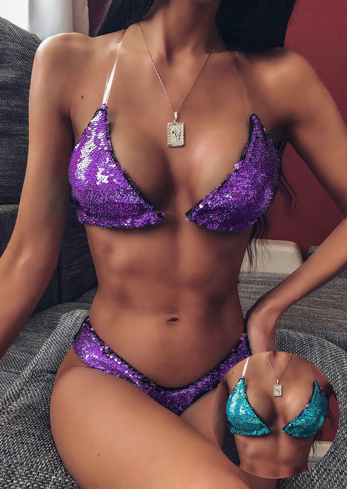 Color Changing Reversible Sequined Bikini Set without Necklace (Blue - Dark Purple) фото