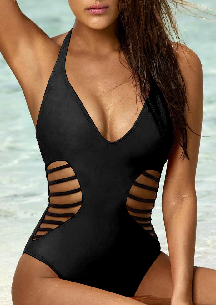 Mesh Side Sheer High Cut Monokini Hollow Out Halter One Piece Swimsuit in Black,Orange. Size: S,M фото