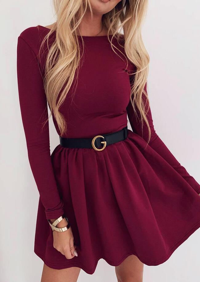 Solid O-Neck Mini Dress without Belt – Burgundy